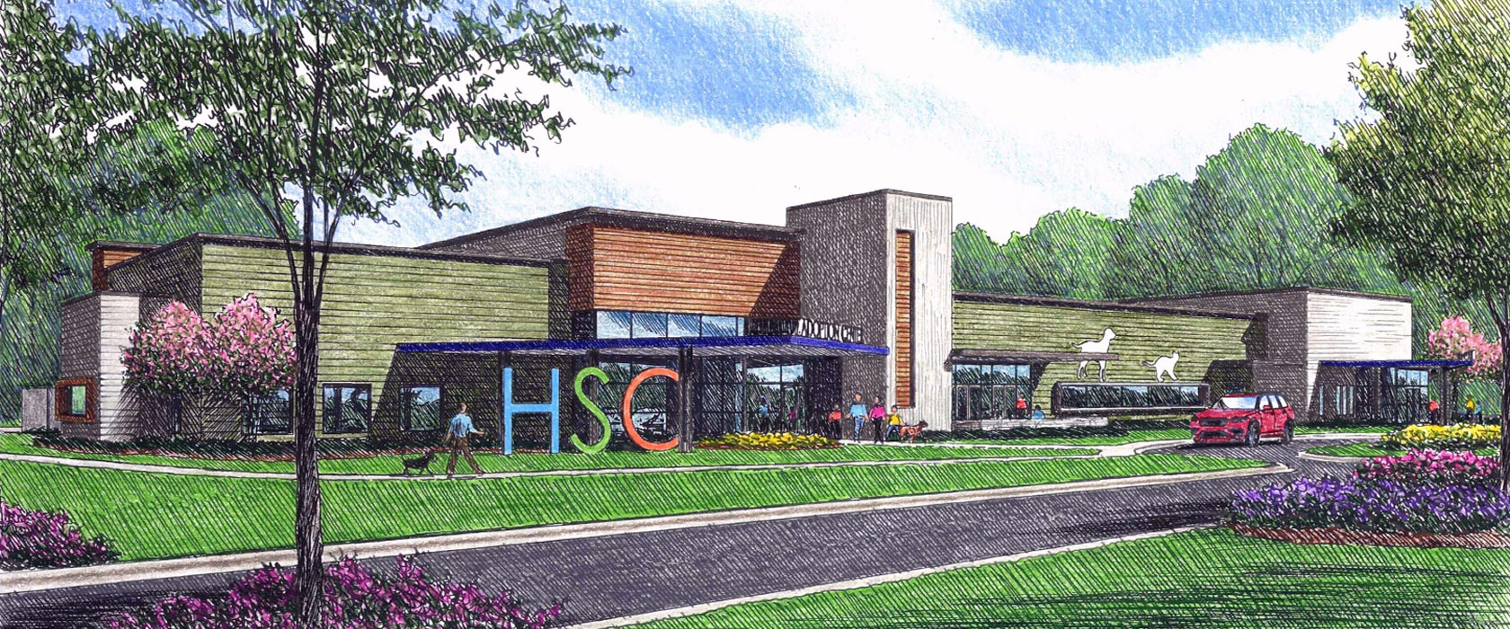 Front render of new facility